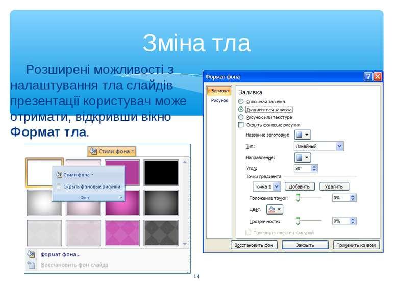 Зміна тла * Розширені можливості з налаштування тла слайдів презентації корис...