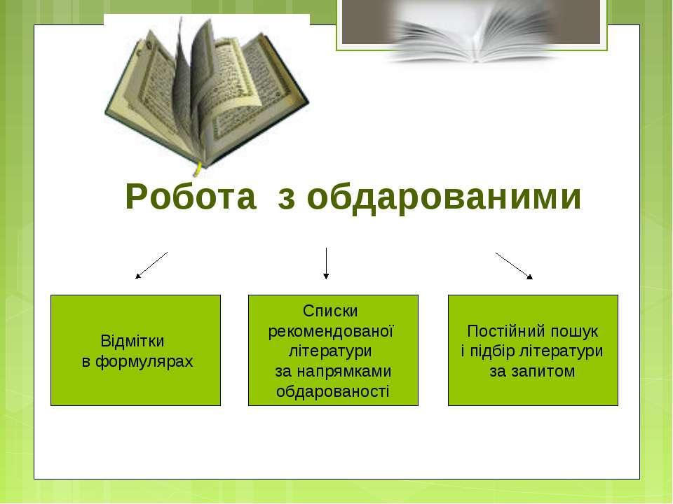 Робота з обдарованими Відмітки в формулярах Списки рекомендованої літератури ...