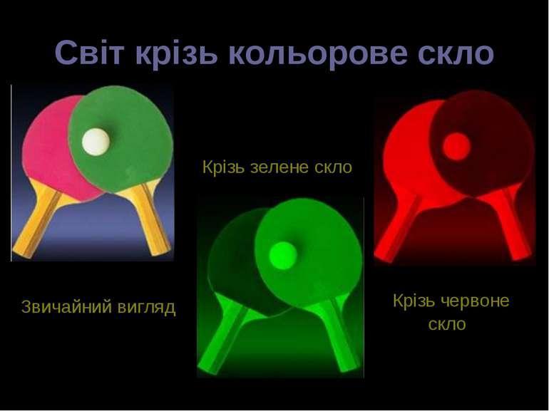 Світ крізь кольорове скло Крізь зелене скло Крізь червоне скло Звичайний вигляд