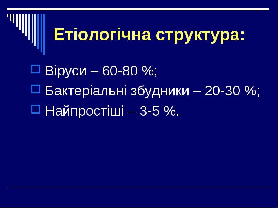 Етіологічна структура: Віруси – 60-80 %; Бактеріальні збудники – 20-30 %; Най...