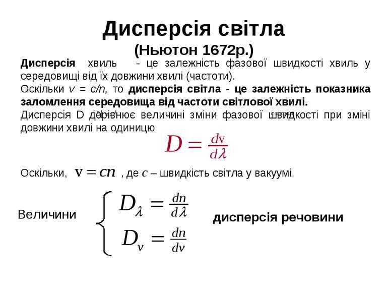 Дисперсія світла (Ньютон 1672р.)