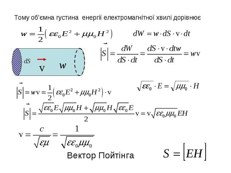 Тому об'ємна густина енергії електромагнітної хвилі дорівнює Вектор Пойтінга