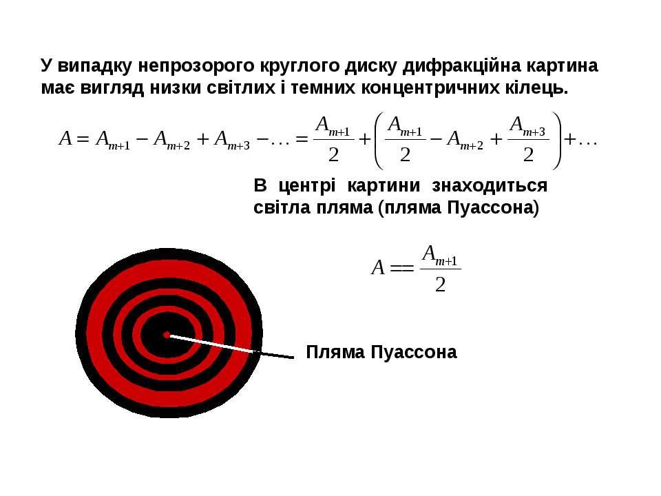 У випадку непрозорого круглого диску дифракційна картина має вигляд низки сві...