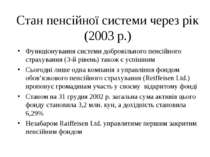 Стан пенсійної системи через рік (2003 р.) Функціонування системи добровільно...
