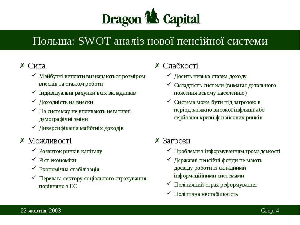 Польша: SWOT аналіз нової пенсійної системи Сила Майбутні виплати визначаютьс...