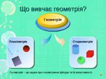 Що вивчає геометрія? Геометрія Геометрія – це наука про геометричні фігури та...