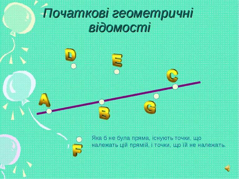 Початкові геометричні відомості Яка б не була пряма, існують точки, що належа...
