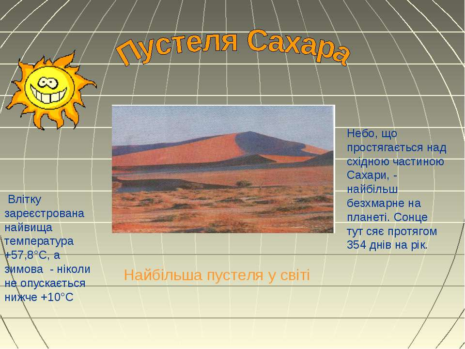 Найбільша пустеля у світі Влітку зареєстрована найвища температура +57,8°С, а...