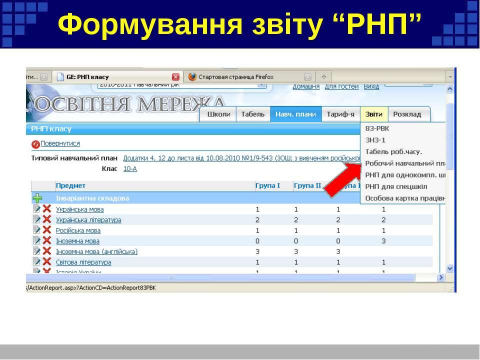 """Формування звіту """"РНП"""""""