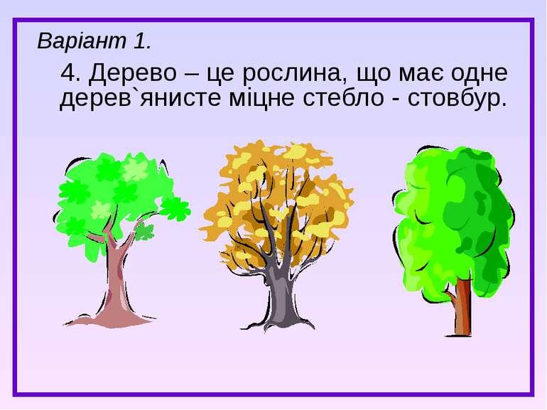 4. Дерево – це рослина, що має одне дерев`янисте міцне стебло - стовбур. Варі...