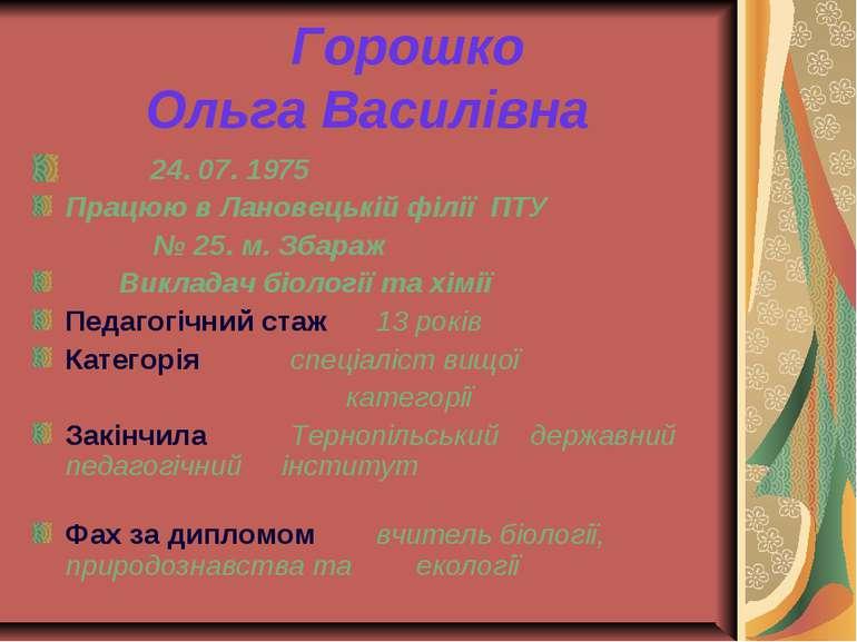 Горошко Ольга Василівна 24. 07. 1975 Працюю в Лановецькій філії ПТУ № 25. м. ...