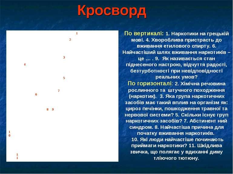 Кросворд По вертикалі: 1. Наркотики на грецькій мові. 4. Хвороблива пристраст...