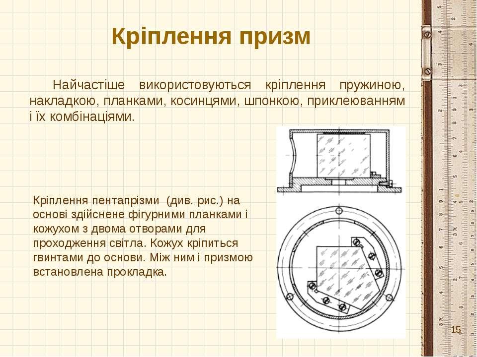 Кріплення призм Найчастіше використовуються кріплення пружиною, накладкою, пл...