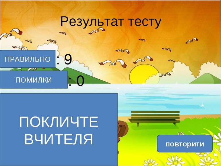 Результат тесту Верно: 9 Ошибки: 0 Отметка: 5 Время: 0 мин. 20 сек. повторити...