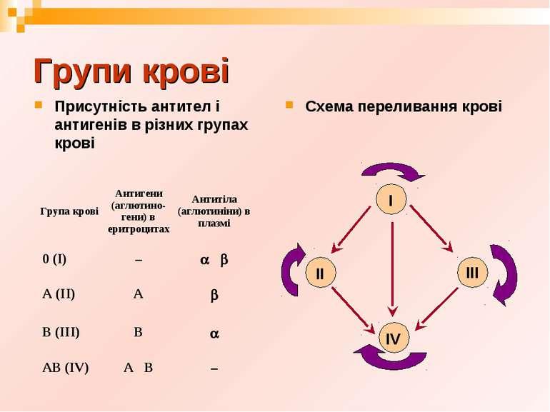 Групи крові Присутність антител і антигенів в різних групах крові Схема перел...