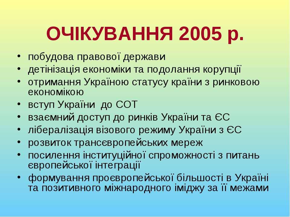 ОЧІКУВАННЯ 2005 р. побудова правової держави детінізація економіки та подолан...