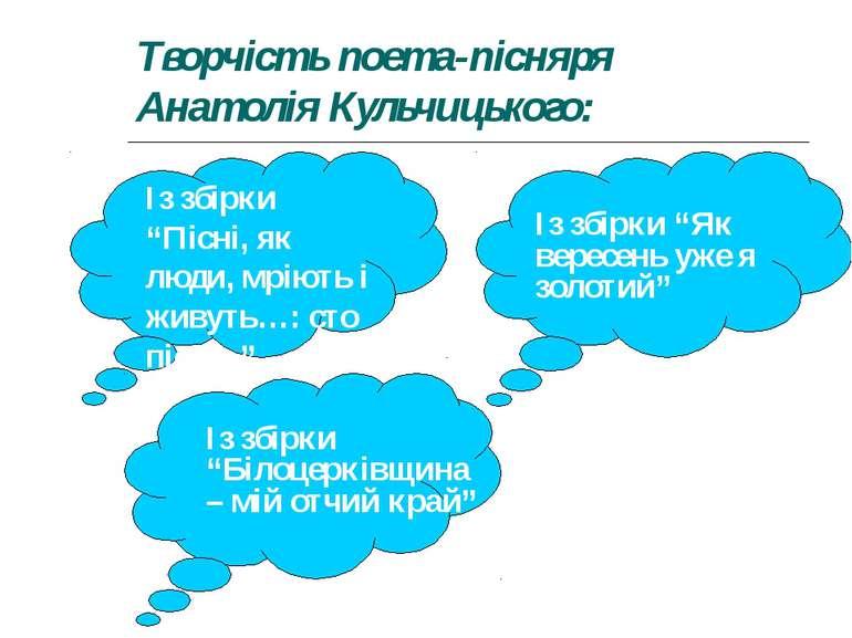 """Творчість поета-пісняря Анатолія Кульчицького: Із збірки """"Пісні, як люди, мрі..."""