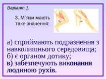 а) сприймають подразнення з навколишнього середовища; б) є органом дотику; в)...
