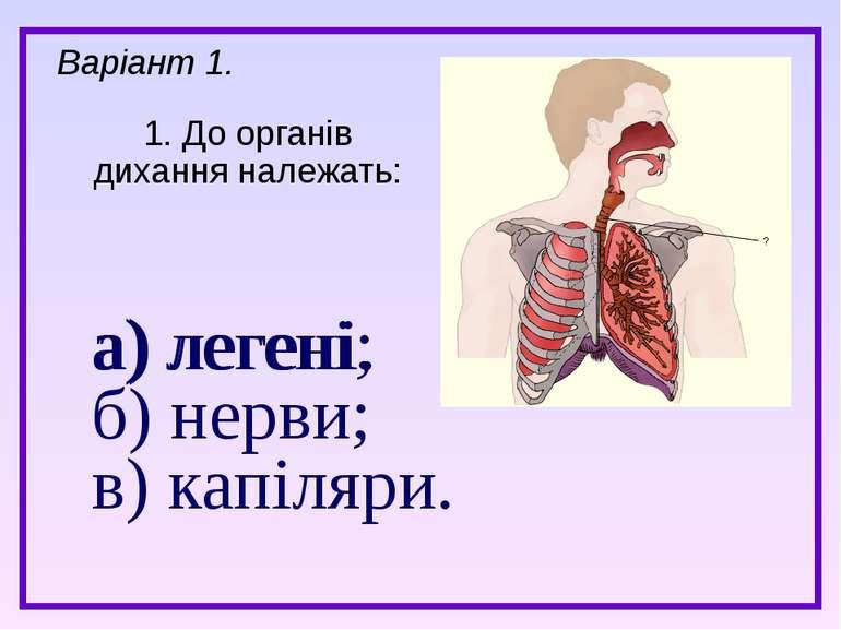 а) легені; б) нерви; в) капіляри. 1. До органів дихання належать: Варіант 1. ...