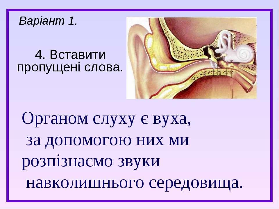 4. Вставити пропущені слова. Варіант 1. Органом слуху є вуха, за допомогою ни...