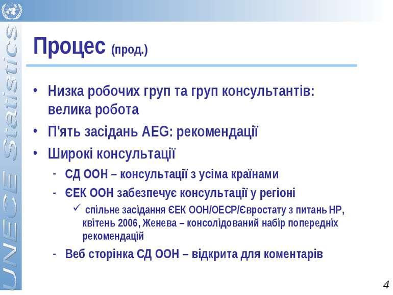 Процес (прод.) Низка робочих груп та груп консультантів: велика робота П'ять ...