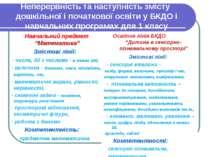 Неперервність та наступність змісту дошкільної і початкової освіти у БКДО і н...