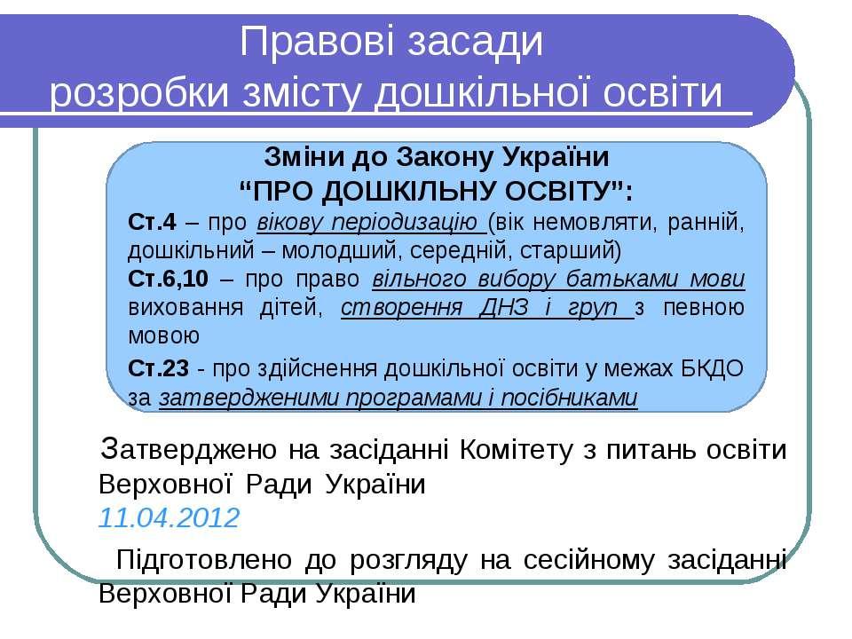 Правові засади розробки змісту дошкільної освіти Затверджено на засіданні Ком...