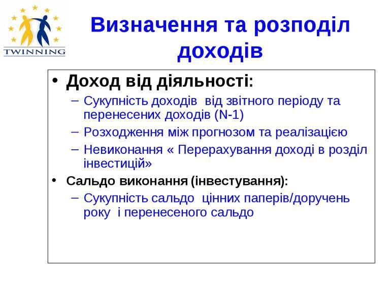 Визначення та розподіл доходів Доход від діяльності: Сукупність доходів від з...
