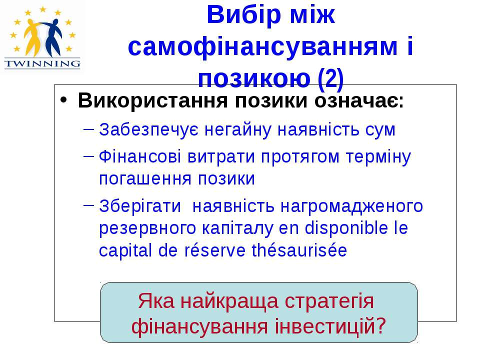 Вибір між самофінансуванням і позикою (2) Використання позики означає: Забезп...