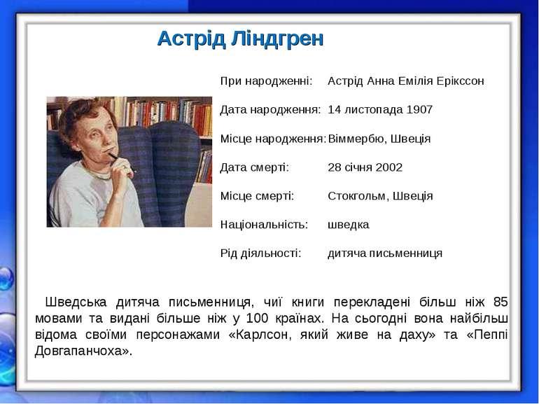 Астрід Ліндгрен При народженні: Астрід Анна Емілія Ерікссон Дата народження: ...