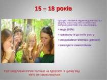 15 – 18 років процес паління перетворюється у форму захисту від особистих неп...