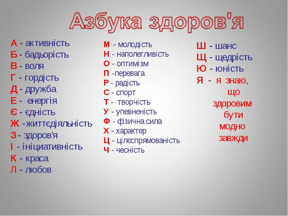 А - активність Б - бадьорість В - воля Г - гордість Д - дружба Е - енергія Є ...