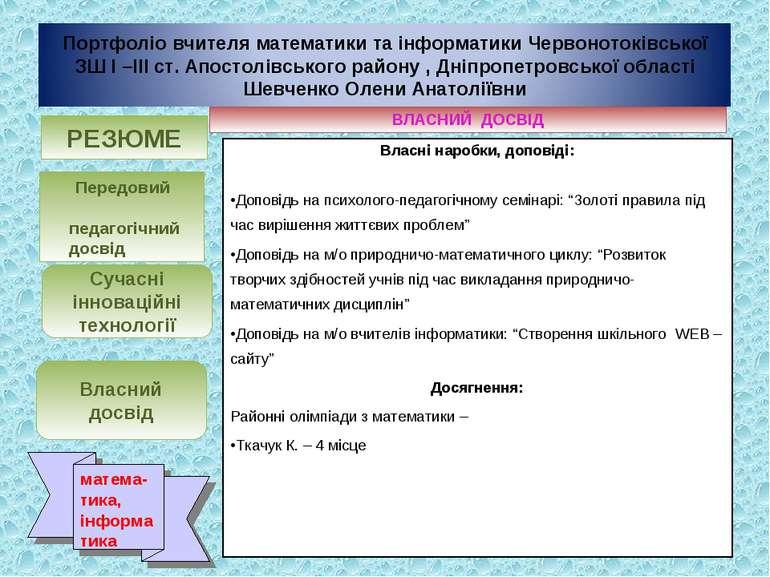 ВЛАСНИЙ ДОСВІД Власні наробки, доповіді: Доповідь на психолого-педагогічному ...