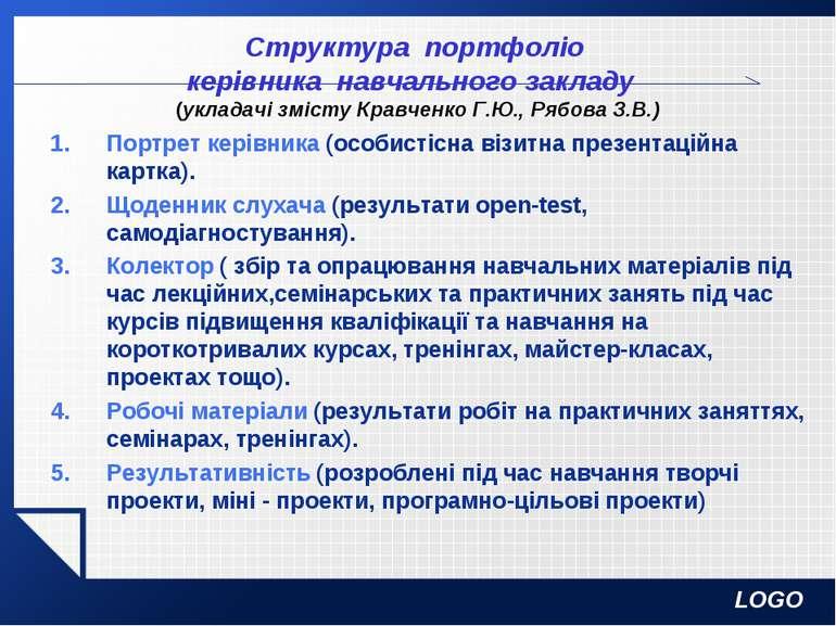 Структура портфоліо керівника навчального закладу (укладачі змісту Кравченко ...