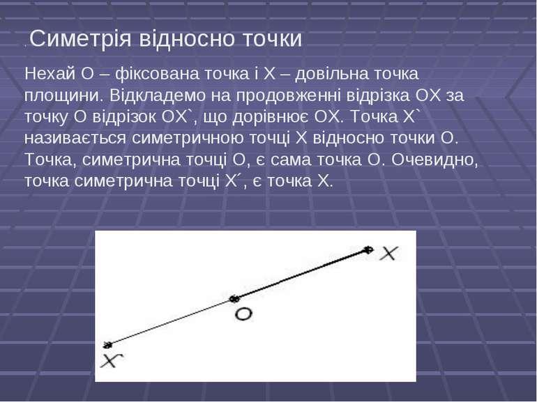 . Симетрія відносно точки Нехай О – фіксована точка і Х – довільна точка площ...