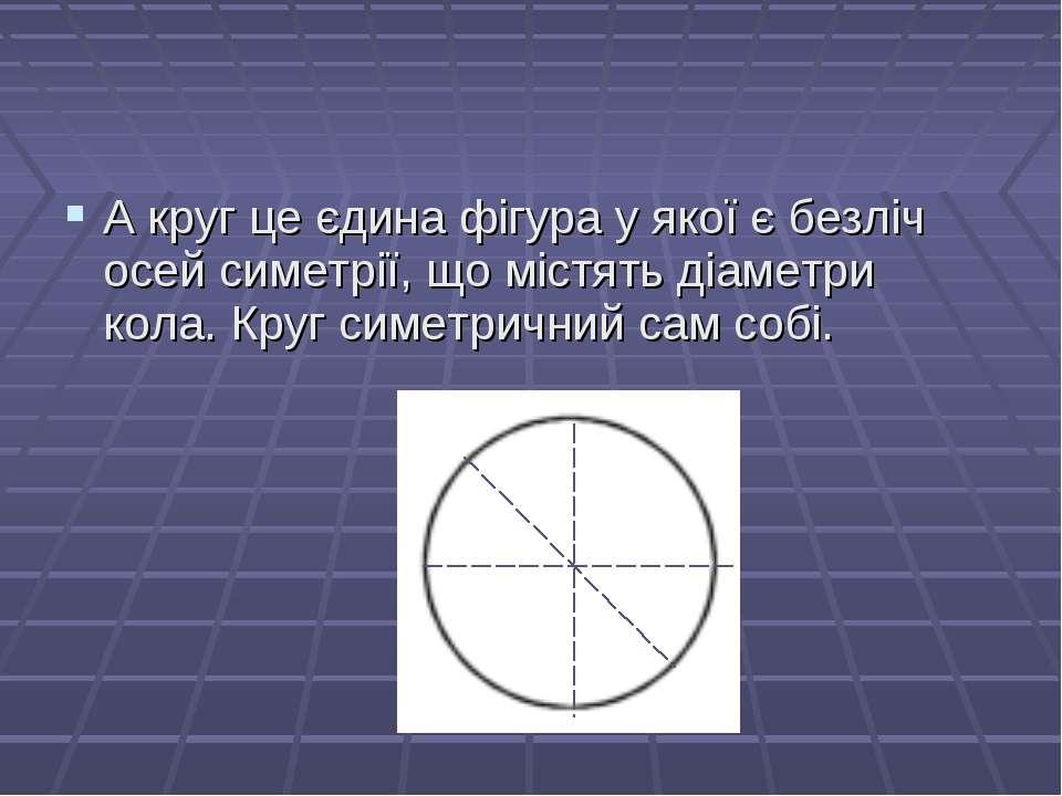 А круг це єдина фігура у якої є безліч осей симетрії, що містять діаметри кол...
