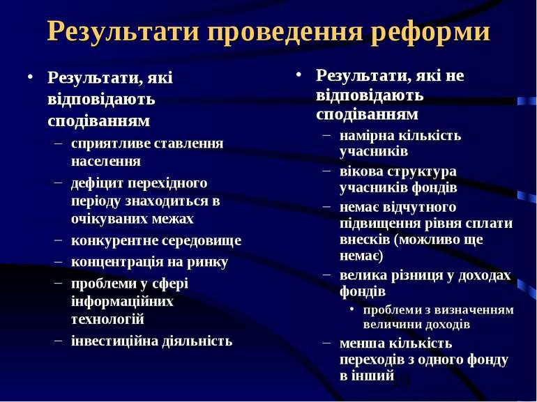 Результати проведення реформи Результати, які відповідають сподіванням сприят...