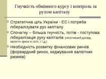 Гнучкість обмінного курсу і контроль за рухом капіталу Стратегічна ціль Украї...