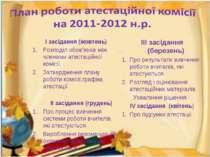 І засідання (жовтень) Розподіл обов'язків між членами атестаційної комісії. З...