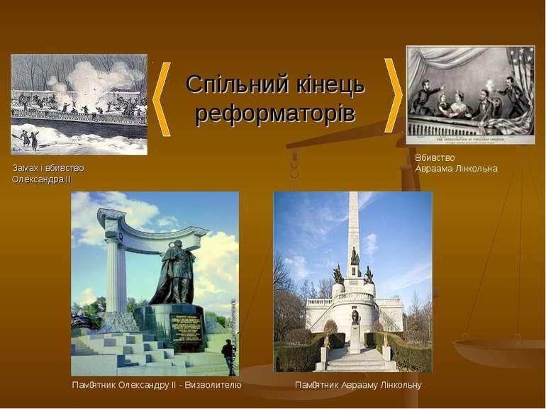 Спільний кінець реформаторів Замах і вбивство Олександра ІІ Вбивство Авраама ...