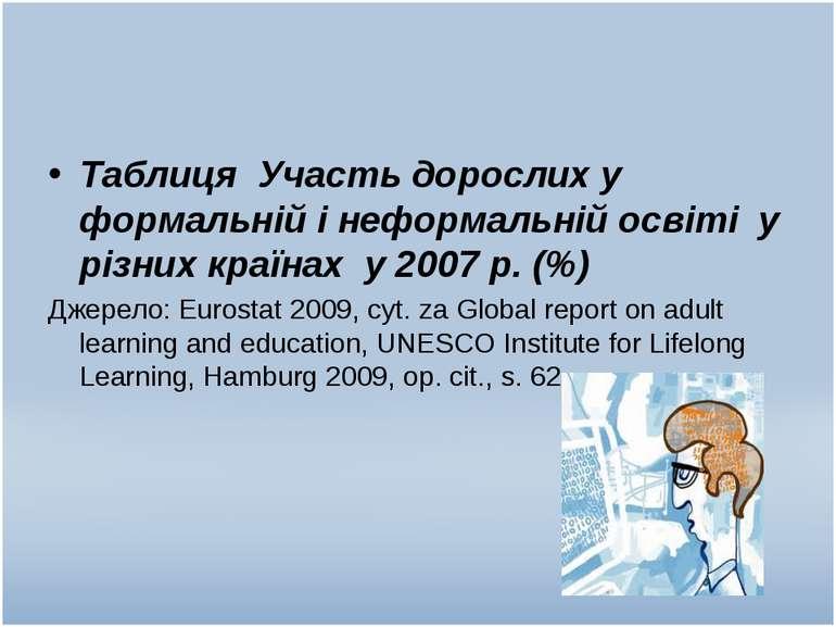 Таблиця Участь дорослих у формальній і неформальній освіті у різних країнах у...