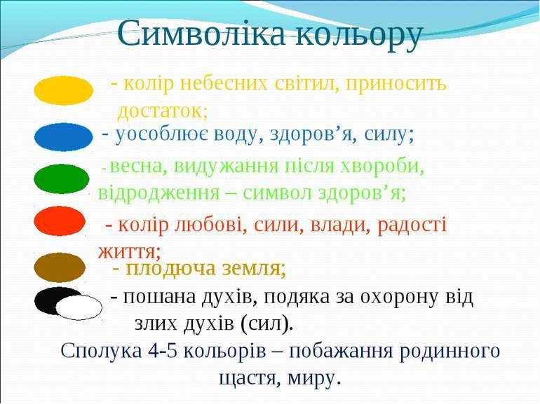 Символіка кольору - колір небесних світил, приносить достаток; - уособлює вод...