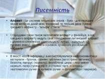 Алфавіт - це система письмових знаків - букв - для передачі звуків мови на да...