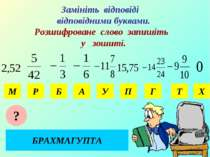 Замініть відповіді відповідними буквами. Розшифроване слово запишіть у зошиті...