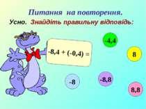 Усно. Знайдіть правильну відповідь: -8,4 + (-0,4) = 8,8 -4,4 8 -8,8 -8 Питанн...