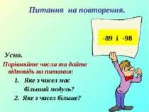 Усно. Порівняйте числа та дайте відповідь на питання: 1. Яке з чисел має біль...