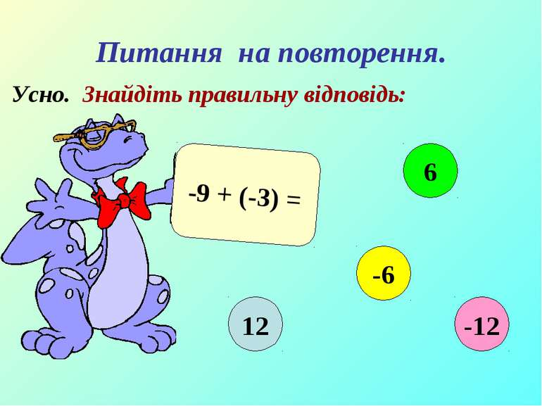 Питання на повторення. Усно. Знайдіть правильну відповідь: -9 + (-3) = 12 6 -...