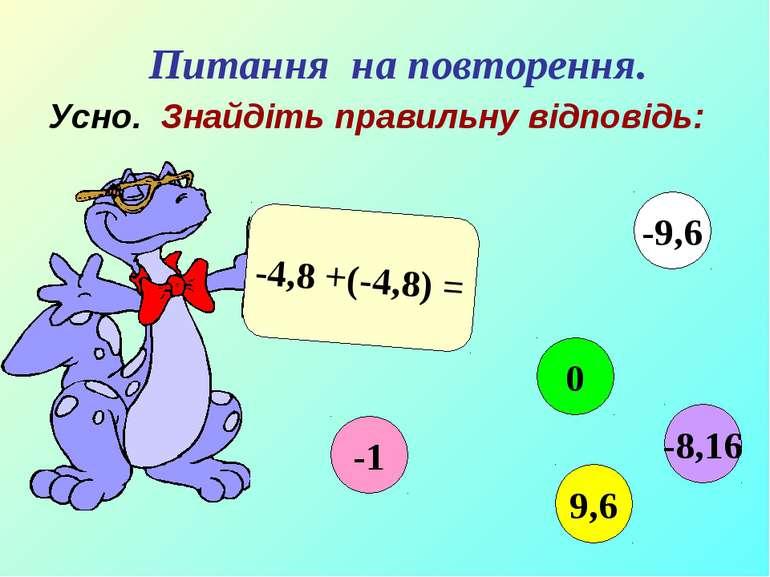 Усно. Знайдіть правильну відповідь: -4,8 +(-4,8) = -1 0 9,6 -9,6 -8,16 Питанн...
