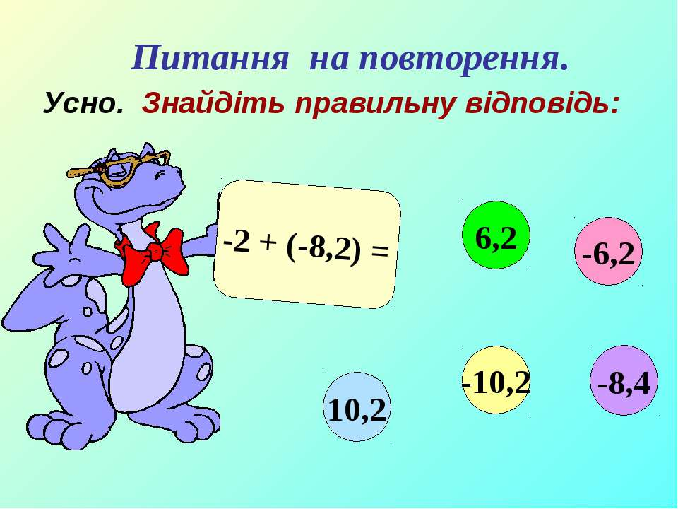 Усно. Знайдіть правильну відповідь: -2 + (-8,2) = -6,2 6,2 10,2 -10,2 -8,4 Пи...