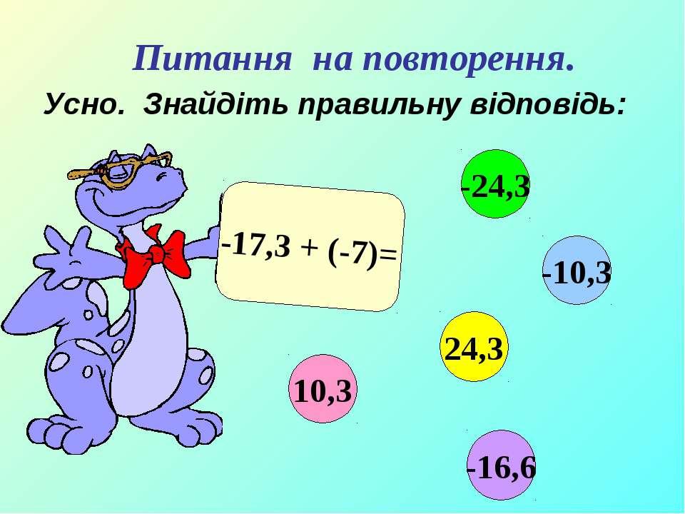 Усно. Знайдіть правильну відповідь: -17,3 + (-7)= 10,3 -10,3 24,3 -24,3 -16,6...